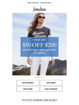 Extra day for $50-$300 off! Also, 100s of styles added to Designer Sale
