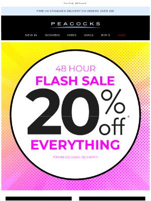 Peacocks (UK) - Flash Sale ⚡ 20% Off Everything