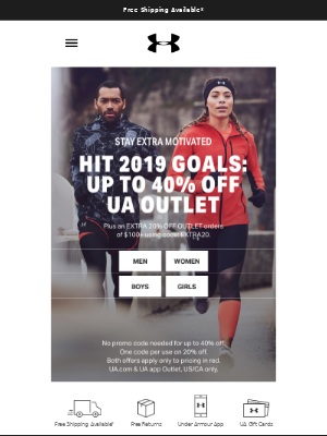 Awesome! You've Got Up To 40% Off + An EXTRA 20% Off Waiting For You At The UA Outlet