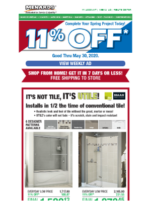 Upgrade Your Bathroom with 11% Off!*