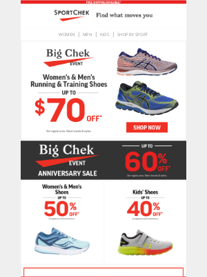 Sport Chek (CA) - Up To $70 Off Shoes During The Big Chek Event