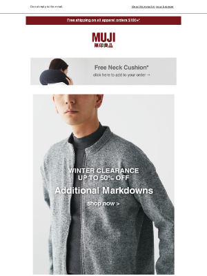 MUJI - Additional markdowns on clearance today.