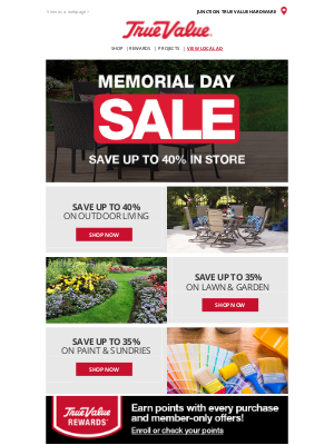 True Value - Save up to 40% at the Memorial Day Sale!