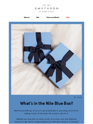 What's in the Nile Blue box?