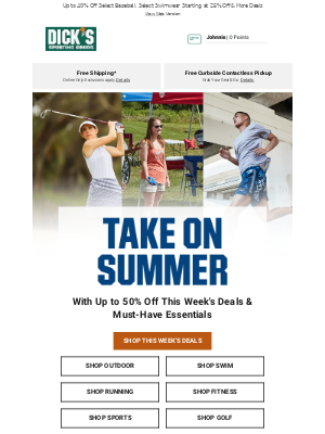 DICK'S Sporting Goods - Summer's Still Hot! Score Up to 50% Off, Summer Essentials & More ​