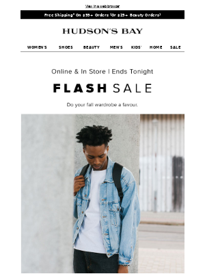 FLASH SALE—up to 40% off men's clothing and more