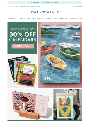 Paper Source - 2 Days Only! 30% off ALL Calendars!