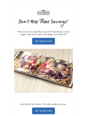 Picaboo - Photo Book and Puzzle Savings End Soon