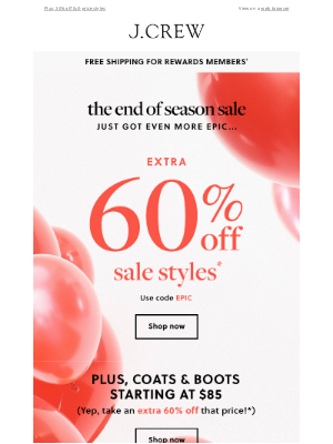 J.Crew - Sale upgrade: Get extra 60% off sale styles
