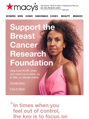 Macy's - Breast Cancer Awareness Month is here—donate now