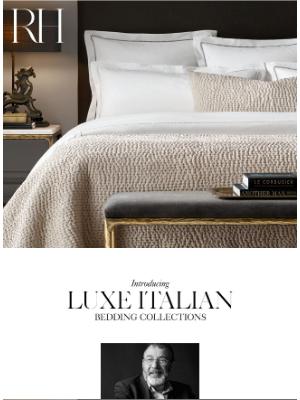 Restoration Hardware - The Finest Italian Bedding. Explore Collections by Carlo Bertelli.
