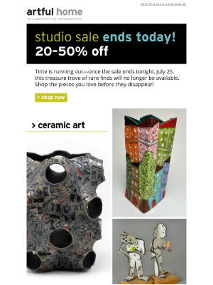 Studio Sale Ends Today!