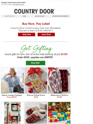 Country Door - Christmas Now, Pay Later!