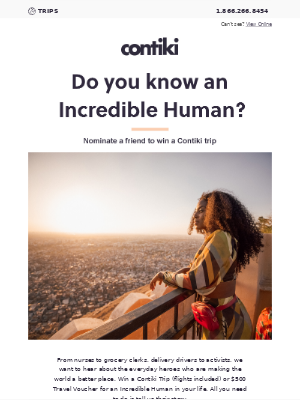 Contiki - Win a Contiki trip for an incredible human
