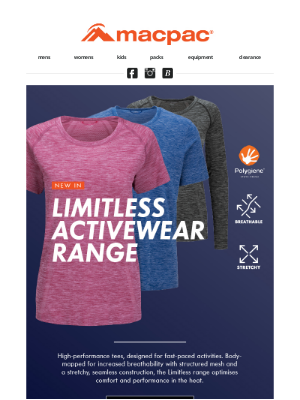 Macpac (New Zealand) - New in: Limitless tees & Back to School deals