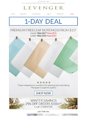 Levenger - Today Only - Freeleaf Notepads $15-$19.