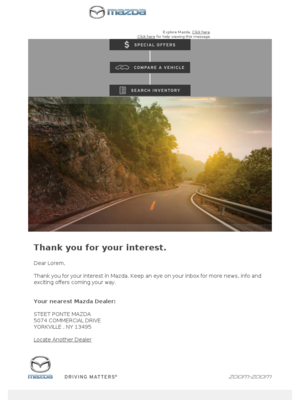 Mazda - Lorem, thank you for your interest.