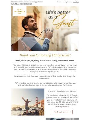 Etihad Airways - Welcome to Etihad Guest, Dennis