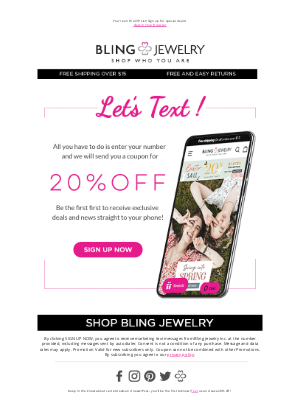 Bling Jewelry - 20% off Exclusive Text Offer: Sign up Now and Save!