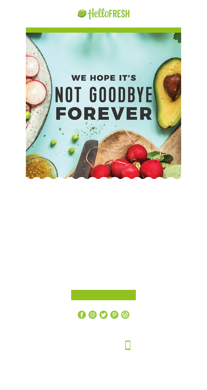 HelloFresh USA - You've cancelled your subscription