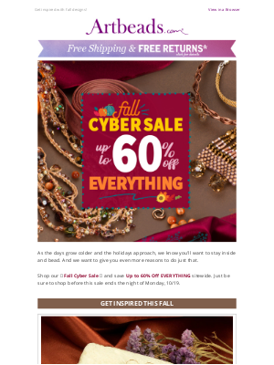 Artbeads - 🍂Fall Jewelry Designs + Fall Savings Up to 60% Off