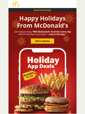 McDonald's - FREE Daily Holiday Deals are coming to town ❄