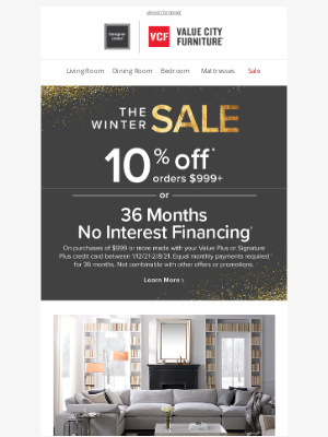 Value City Furniture - Save 10% during The Winter Sale  ❄️
