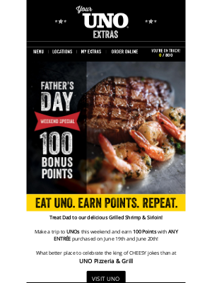 Uno Pizzeria & Grill - Earn 100 Points With UNO Today - Father's Day Weekend Specials!