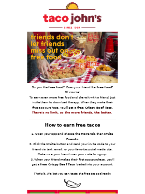 Taco John's - Friends don't let friends miss out on free food