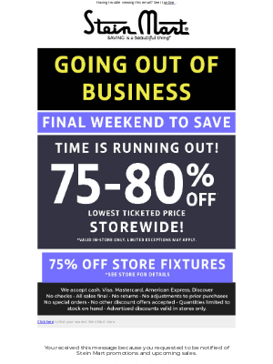 Stein Mart - It's the final weekend to save.