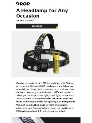 Nitecore HC65 1,000-Lumen Rechargeable Headlamp: A Powerful Nighttime Companion for $60.00