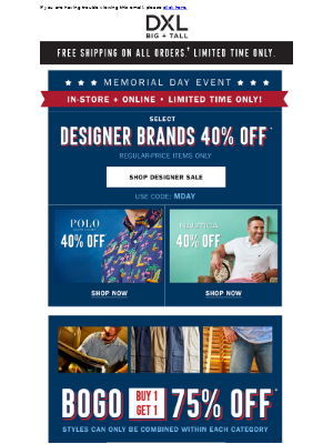 Memorial Day 40% Off Designer Sale!