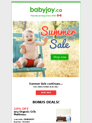 Don't miss out! SUMMER SALE - new deals added everyday!