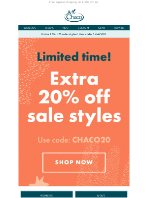 Chaco - Extra 20% off sale styles on NOW 🎊