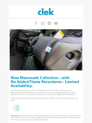 Clek - Mammoth is Back in Stock - Limited Availability