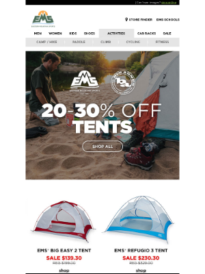 Eastern Mountain Sports - 20-30% OFF  EMS & Big Agnes Tents ⛺