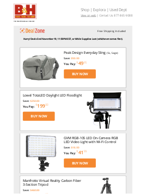 B&H Photo Video - Today's Deals: Peak Design Everyday Sling, Lowel LED Floodlight, GVM On-Camera LED Video Light, Manfrotto CF 3-Section Tripod  & More