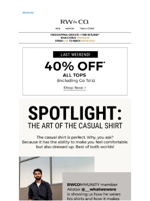 RW&CO. CA - Get 40% off ALL tops. Time to stock up!