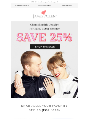 James Allen Rings - Hello, Early Cyber Monday Sale!