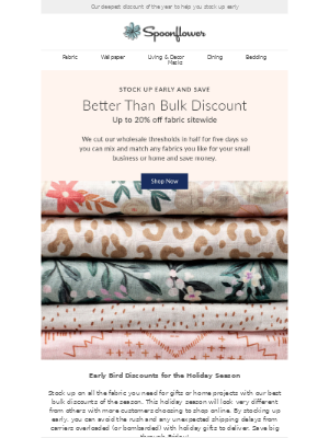 Spoonflower - BIG savings inside (up to 20% off!)