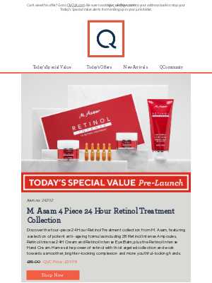 QVC (UK) - See Today's Special Value Pre-Launch: M. Asam 4 Piece 24 Hour Retinol Treatment Collection