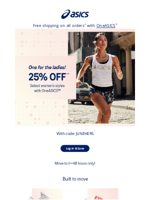 ASICS - 2 days only: 25% off select women's wear