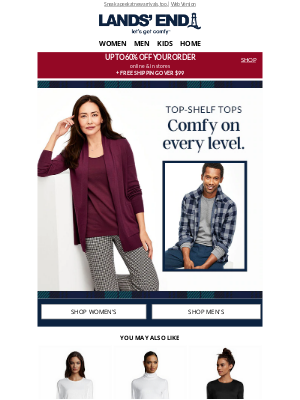 Lands' End - Up to 60% off your order = super comfy New Year's Eve