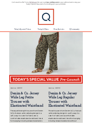 QVC (UK) - See Today's Special Value Pre-Launch: Denim & Co. Jersey Wide Leg Petite Trouser with Elasticated Waistband