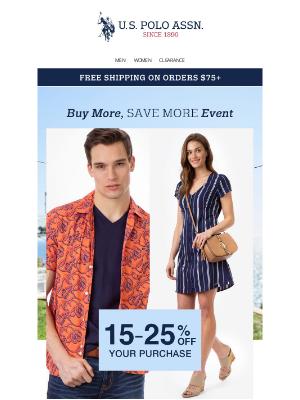 U.S. Polo Assn. - HEADS UP ☝️ $19.99 Polo Shirts, $21.99 Shirts, $24.99 Dresses & Extra 25% Off