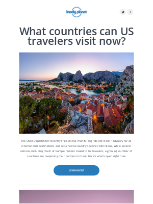 Lonely Planet - What countries can US travelers go to right now?