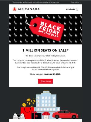 Air Canada - 2 days left! Our Black Friday Spectacular ends soon