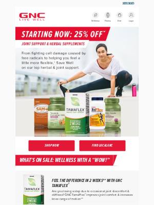 GNC - Joints bothering you? Get 25% offˇ top recommendations!