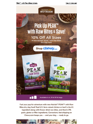 You can save 10% on new PEAK™ with Raw Bites on Chewy.com!