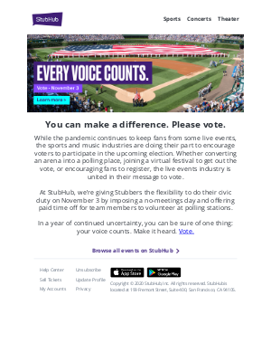 StubHub - 🇺🇸 Your voice matters. Register to vote for the 2020 election 🦅